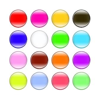 Botões coloridos isolados no set de fundo branco