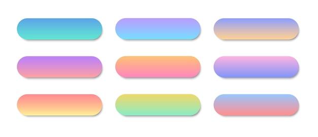 Botões coloridos modernos para site e interface do usuário. conjunto de botões da web. ilustração vetorial.