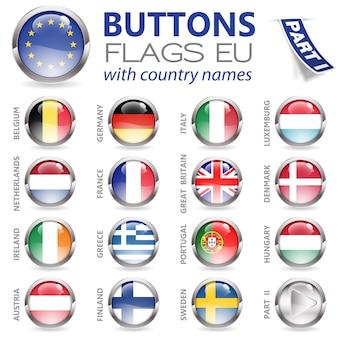 Botões com bandeiras da ue