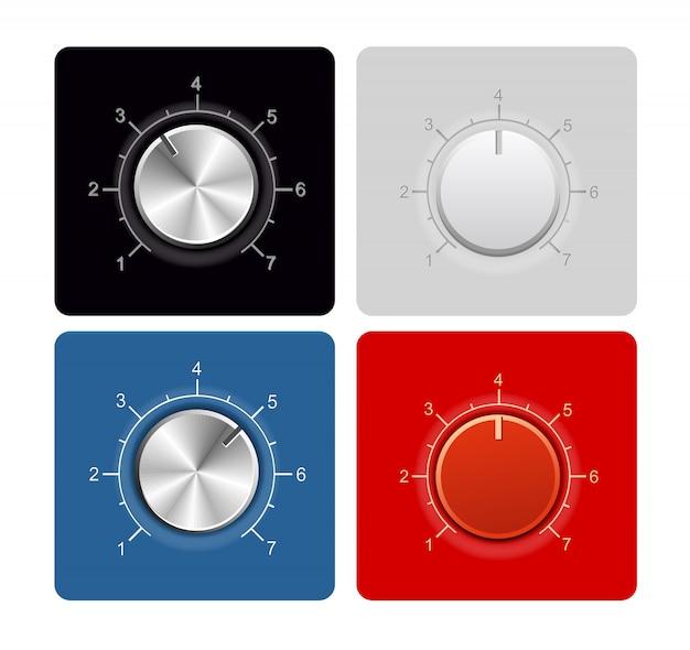 Botões com regulador e escala de temperatura para a velocidade da pressão sonora azul, vermelho, preto e branco. ilustração de vecton