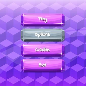 Botões com texto para jogos