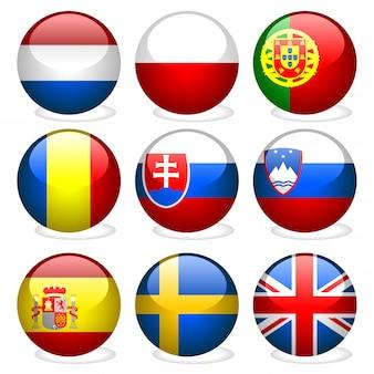 Botões da bandeira da união de europa