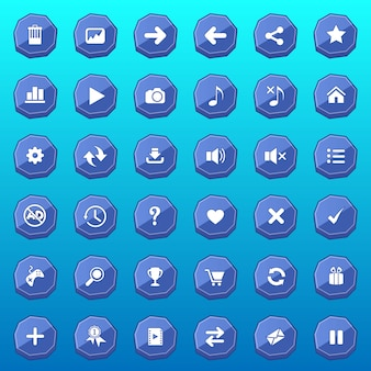 Botões da interface gráfica com design plano de forma deluxe para jogos cor azul.