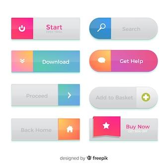 Botões da web criativa em estilo gradiente