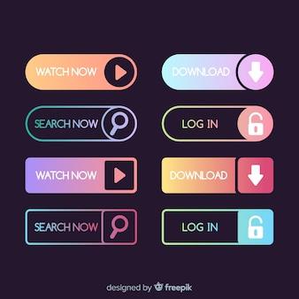 Botões da web em estilo gradiente