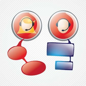 Botões de agente de serviço ao cliente em fundo cinza v