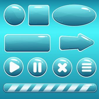 Botões de água dos desenhos animados e barra de carregamento para gui