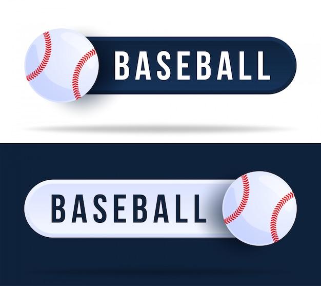Botões de alternância de beisebol. ilustração com bola de basquete e botão web com texto