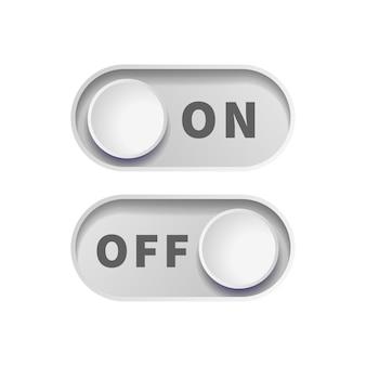 Botões de alternância realistas cinza ligado e desligado isolados no branco