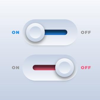 Botões de alternância realistas para ligar e desligar