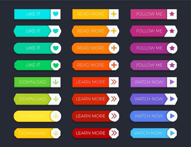 Botões de apelo à ação de design plano