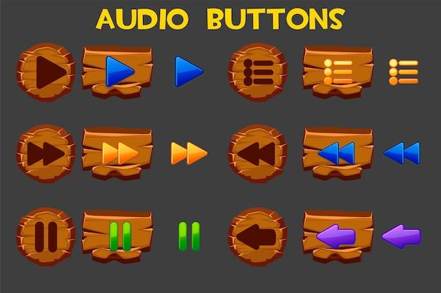 Botões de áudio de madeira coloridos para menu