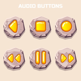 Botões de áudio de pedra antigos, ícones de computador