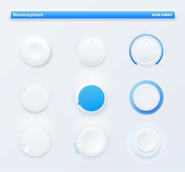 Botões de botão de nível redondo do kit de iu neomórfico do aplicativo móvel