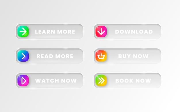 Botões de call to action em gradiente colorido