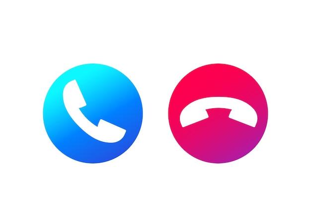 Botões de chamada telefônica, aceitar e recusar