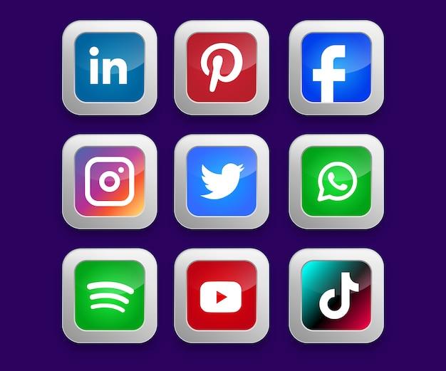 Botões de coleção de mídia social
