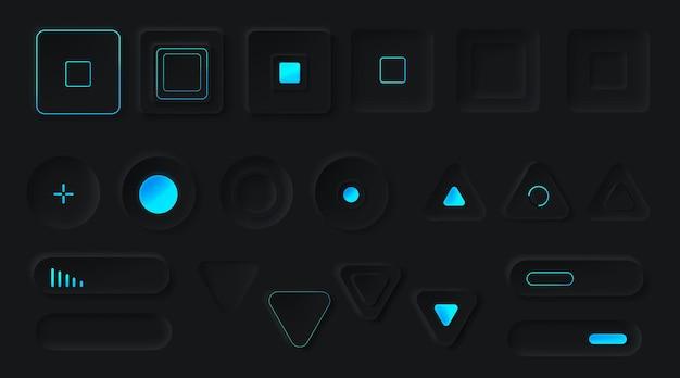 Botões de controle com luz de fundo neon.