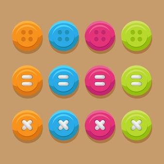 Botões de cores diferentes com e sem fios Vetor Premium