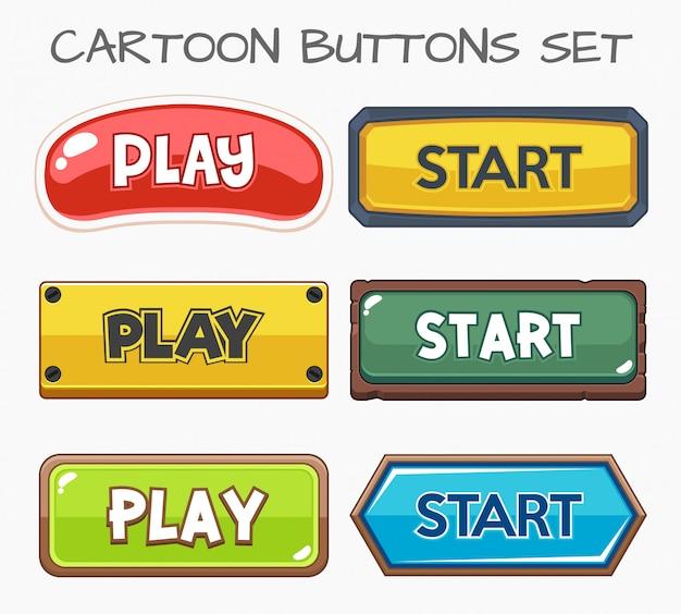 Botões de desenho animado definir o jogo.