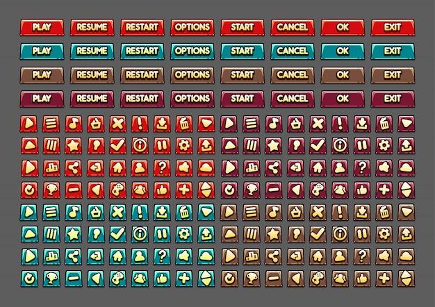 Botões de desenho animado para criar jogos de vídeo