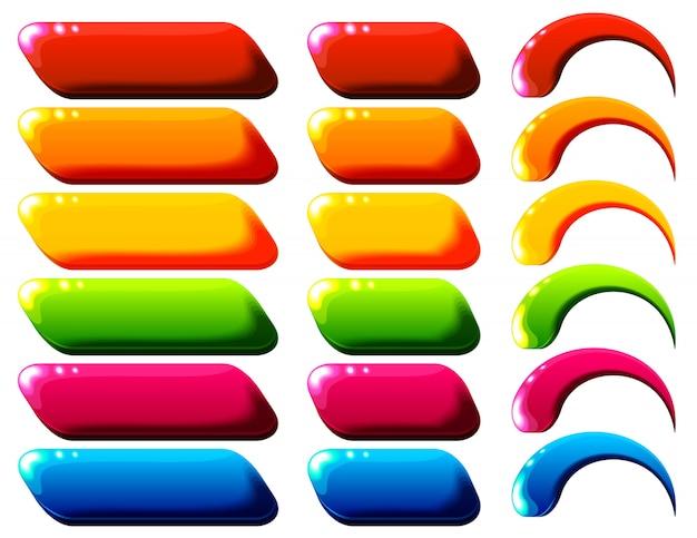 Botões de design de interface do usuário brilhante arco-íris