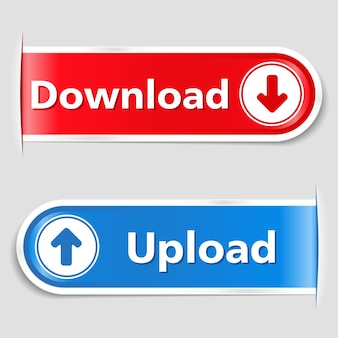 Botões de download e upload