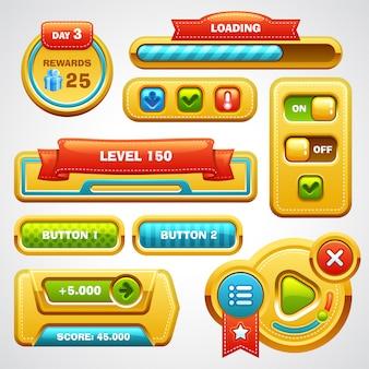 Botões de elementos da interface do usuário do jogo, barra de progresso, ícones e campos para o jogo