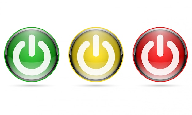 Botões de energia 3d brilhantes. ilustração.