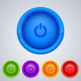Botões de energia coloridos