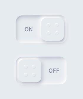 Botões de energia de forma quadrada ativada e desativada para neumorfismo editável definem controle deslizante para navegação e aplicativo do menu móvel do site Vetor Premium