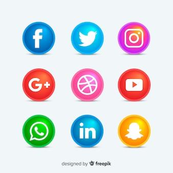 Botões de ícones de mídia social arredondada