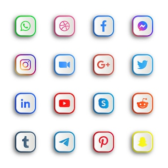Botões de ícones de mídia social com botões quadrados redondos ou retangulares de plataformas de rede