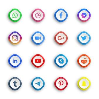 Botões de ícones de mídia social com moldura quadrada redonda ou retângulo de plataformas de rede