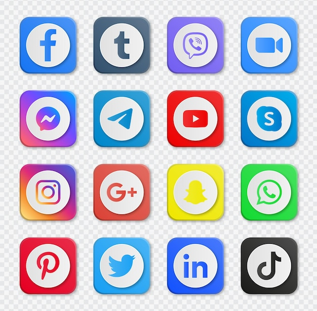 Botões de ícones de mídia social populares ou logotipos de rede