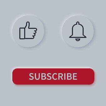 Botões de inscrição. botão de sino e gosto.