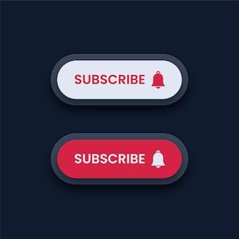 Botões de inscrição brancos e vermelhos