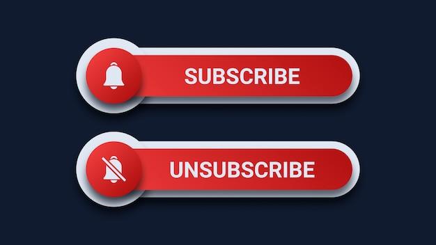 Botões de inscrição e cancelamento de inscrição