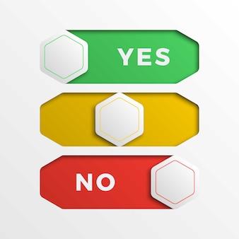 Botões de interface de interruptor deslizante sim / não hexagonais realistas