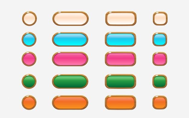 Botões de interface de usuário de estilo de madeira colorido