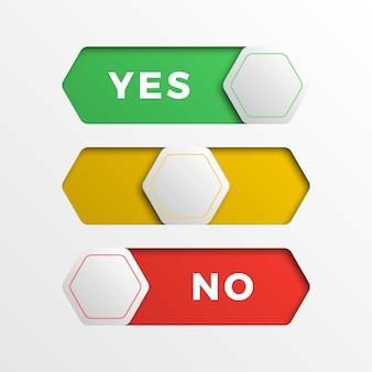 Botões de interface do interruptor hexagonal vermelho / amarelo / verde. 3d realista sim / não controle deslizante