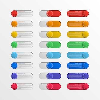 Botões de interface do interruptor redondo multicolor com caixas de texto. controle deslizante infográfico realista 3d. fácil de editar e costomizar.