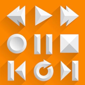 Botões de jogador de vetor plana. arte de ilustração vetorial