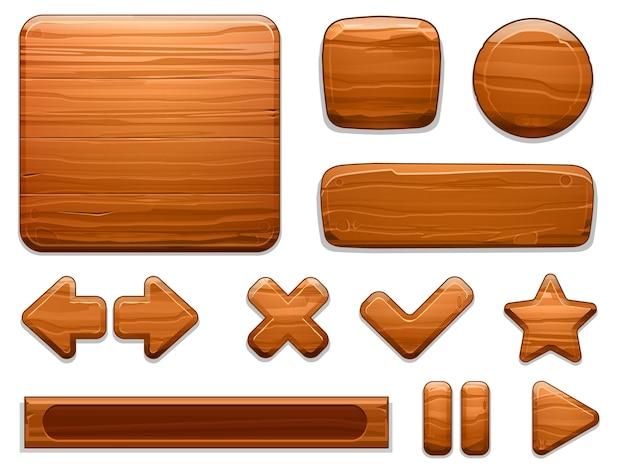 Botões de jogo com textura de madeira
