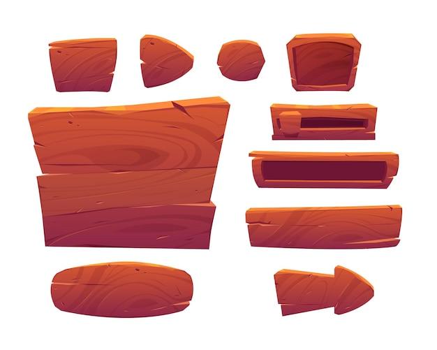 Botões de jogo de madeira, interface de menu de desenho animado feita de placas de madeira texturizada