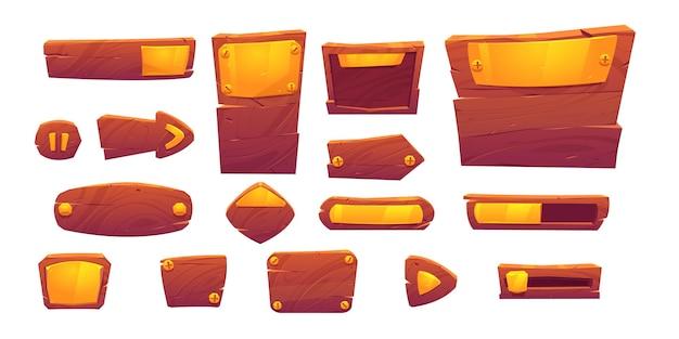 Botões de jogo de textura de madeira e ouro, elementos de interface de menu de desenho animado