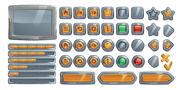Botões de jogo, interface de desenho animado de textura de pedra, metal e ouro.