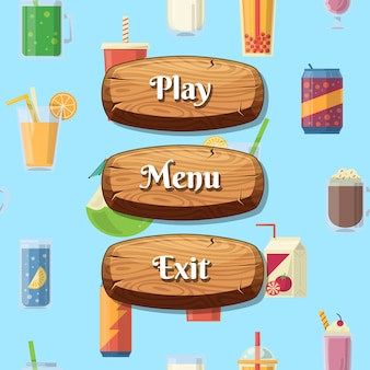Botões de madeira de estilo de desenho animado com texto para o design do jogo