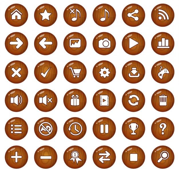 Botões de madeira e conjunto de ícones.