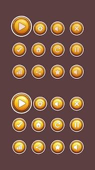 Botões de madeira e ouro para jogo de interface do usuário